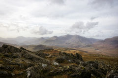 Moel Siabod -看登上斯诺登山北部威尔士 免版税库存图片