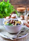 Moela fritadas do pato com batatas, cogumelos e alho-porro Culinária francesa Fotos de Stock