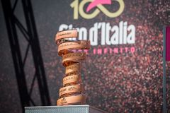 Moena, Italy May 25, 2017:  The infinite trophy symbol of the Tour of Italy 2017. Before the signatures of riders and the departure for the Dolomites Royalty Free Stock Image