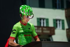 Moena, Italy May 25, 2017: Professional Cyclist Davide Formolo, Cannondale Team, on the Podium signatures. Before departure of hard mountain stage on the Royalty Free Stock Images
