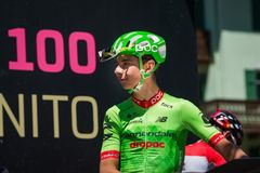 Moena, Italy May 25, 2017: Professional Cyclist Davide Formolo, Cannondale Team, on the Podium signatures. Before departure of hard mountain stage on the Royalty Free Stock Photography