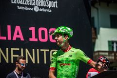 Moena, Italy May 25, 2017: Professional Cyclist Davide Formolo, Cannondale Team, on the Podium signatures. Before departure of hard mountain stage on the Royalty Free Stock Photos