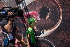 Moena, Italy May 25, 2017: Professional Cyclist Davide Formolo, Cannondale Team, on the Podium signatures. Before departure of hard mountain stage on the Royalty Free Stock Image