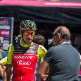 Moena, Italy May 25, 2017: Professional Cyclist Filippo Pozzato during an interview before departure. Of hard mountain stage on the Dolomites of Tour of Italy Stock Photo