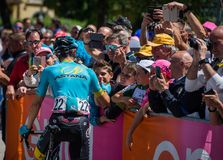 Moena, Italy May 25, 2017: Professional Cyclist meets fans before departure. Of hard mountain stage on the Dolomites of Tour of Italy 2017 Stock Image