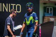 Moena, Italy May 25, 2017: Professional Cyclist Nairo Quintana, Movistar Team, on the Podium signatures Stock Photo