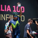 Moena, Italy May 25, 2017: Professional Cyclist Nairo Quintana, Movistar Team, on the Podium signatures Stock Images