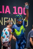 Moena, Italy May 25, 2017: Professional Cyclist Nairo Quintana, Movistar Team, on the Podium signatures Stock Photos