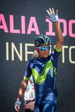 Moena, Italy May 25, 2017: Professional Cyclist Nairo Quintana, Movistar Team, on the Podium signatures Royalty Free Stock Images