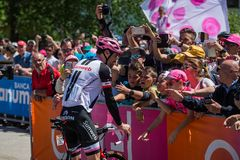 Moena, Italy May 25, 2017: Professional Cyclist Tom Doumulin meets fans before departure. Of hard mountain stage on the Dolomites of Tour of Italy 2017 Stock Image