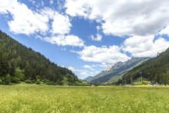 Moena, Trentino Alto Adige, Dolomites, Alps, Italy - June 19, 2018: Beautiful view of the town of Moena in the Dolomite mountains,. Italy. Old town in the royalty free stock images