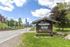 Moena, Trentino Alto Adige, Dolomites, Alps, Italy - June 19, 2018: Beautiful view of the town of Moena in the Dolomite mountains,. Italy. Old town in the stock images