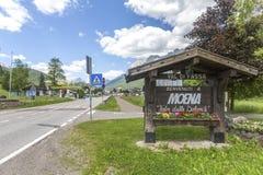 Moena, Trentino Alto Adige, Dolomites, Alps, Italy - June 19, 2018: Beautiful view of the town of Moena in the Dolomite mountains,. Italy. Old town in the stock image