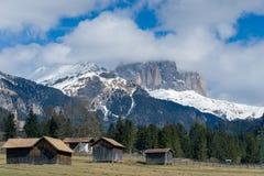 MOENA, TRENTINO/ITALY - MARCH 26 : Barns in Valley di Fassa near Royalty Free Stock Image