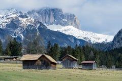 MOENA, TRENTINO/ITALY - MARCH 26 : Barns in Valley di Fassa near Royalty Free Stock Photos