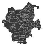 Moenchengladbach City Map Germany DE labelled black illustration. Illustration Stock Photography