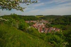 MOENSHEIM,普福尔茨海姆,德国- 4月29 2015年:蒙斯海姆是一个镇在Enz区在亚丁乌特姆博格在南部的BRD 免版税库存图片