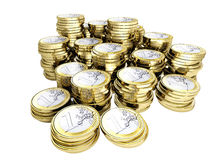 Moeny 3d euro coin. Money background fine 3d euro coin on white Royalty Free Stock Photos