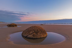 Moeraki Boulder closeup at low tide, Koekohe beach, New Zealand Stock Images