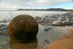 Moeraki boulders. On the beach during low tide, Moeraki, New Zealand stock photos
