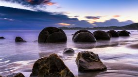 Moeraki Boulders At Sunrise Stock Images