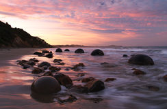 Moeraki boulders and beach Royalty Free Stock Image