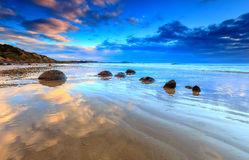 Moeraki Boulders Cloud Reflection Stock Photography