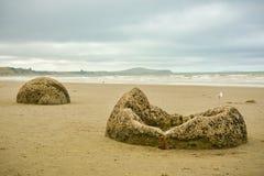 Moeraki Boulders on Koekohe beach near Moearki in New Zealand. Moeraki Boulders on Koekohe beach near Moearki, in South Island of New Zealand royalty free stock photography