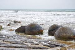 Moeraki Boulders in Koekohe Beach, Otago coast of New Zealand Stock Photo
