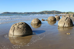 Moeraki Boulders, Large Spherical Stones Royalty Free Stock Photos