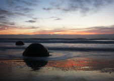 Moeraki Boulders New Zealand. Moeraki boulders of New Zealand's East coast Stock Image