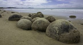 Moeraki boulders new zealand day trip stock photography