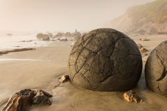 Moeraki boulders in New Zealand Stock Photos