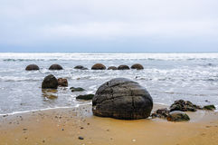 The Moeraki Boulders in New Zealand stock image