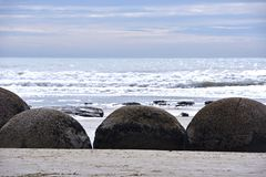 Moeraki boulders, NZ Stock Photography
