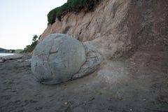 Moeraki boulders in New Zealand stock photography