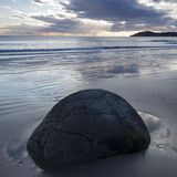 Moeraki Boulders at sunrise, New Zealand Stock Photos
