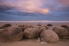 Moeraki Boulders at sunset, New Zealand Royalty Free Stock Photo