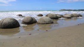 Moeraki głazy na plaży zdjęcie wideo