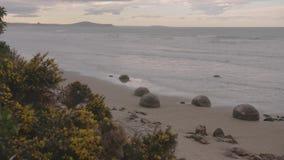 Moeraki głazy w Południowej wyspie Nowa Zelandia zbiory wideo