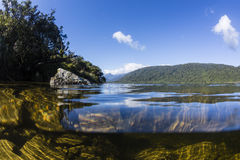 Moeraki Lake, Westcoast, NZ. A split-view image of Moeraki Lake on NZ's Westcoast Stock Photography