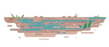 Moeras met modderige geïsoleerde grond vlakke stijl vector illustratie