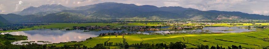 Moerasland en dorpen Stock Fotografie