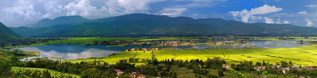 Moerasland en dorpen Royalty-vrije Stock Foto