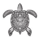 Moerasschildpad, schildpad geschilderd stammen etnisch ornament Hand getrokken vectorillustratie met decoratieve patronen vector illustratie