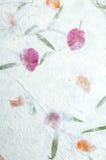 Moerbeiboomdocument met bloementextuur Stock Fotografie