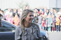 Moerkapelle , The Netherlands - October 3rd 2018 - Queen Maxima of the Netherlands is visiting a company in Moerkapelle, The Neth. Queen Maxima arrives with big royalty free stock images