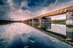 Moerputtenbrug. Old railroad bridge Royalty Free Stock Photography