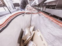 Moers , Germany - November 22 2017: Delivery bag filling with Amazon Parcels royalty free stock photography