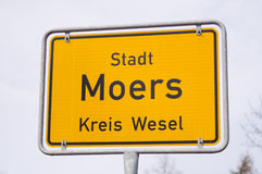 Moers sign germany. Sign of Moers in Germany Royalty Free Stock Photo